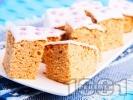 Рецепта Пухкав кекс с фъстъчено масло и бял захарен фондан
